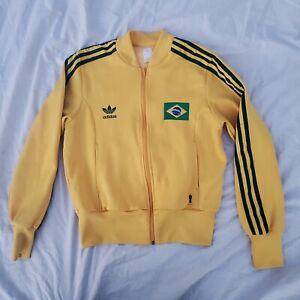 Womens ADIDAS Trefoil Soccer Track Jacket Brazil 2006 FIFA World Cup yellow M