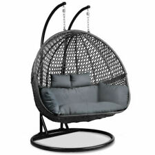 Gardeon Outdoor Double Hanging Swing Chair - Black (HM-EGG-TAT-D-BKGR-AB)
