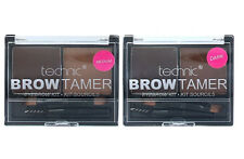 Technic Brow Tamer Eyebrow Shaping Kit Medium Dark Powder Wax Brush