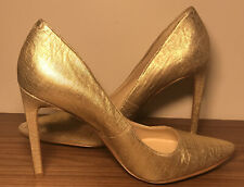 Nine West Tatiana  Gold Leather  Pointed Closed Toe High Heels Pumps 8.5