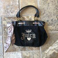 JUICY COUTURE BLACK VELOUR SHOULDER BAG Hobo EMBROIDERED LOGO FRONT