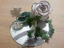 Tischdeko Rose aus Watte Elfe Geschenk Idee Gutschein Geld Vase Stifthalter