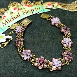 Michal Negrin Signed New Bracelet Victorian Flowers & Swarovski Crystals Purple