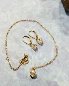 14K YELLOW GOLD DIAMONIQUE DANGLE CUBIC ZIRCONIA SOLITAIRE EARRINGS & NECKLACE