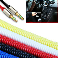 1m Coiled 3.5mm AUX Cable Mini Jack to Jack Male Audio Auxiliary Lead 6 Colours