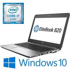 """HP EliteBook 820 G3 Laptop Intel i7 6600U 8G 256G SSD WiFi 12.5"""" FHD Win 10 Pro"""