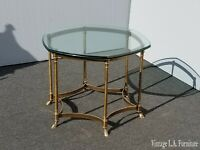 Vintage French Provincial Hexagon Brass Console Coffee Table w Hoof Feet