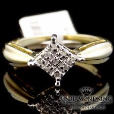 LADIES WOMEN'S REAL 10K YELLOW GOLD GENUINE DIAMOND ENGAGEMENT WEDDING RING BAND