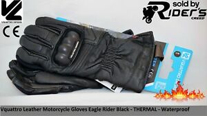 Vquattro Leather Motorcycle Gloves Motorbike Gloves Eagle Rider Waterproof