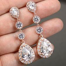 Ct Diamond Solid 10K Rose Gold Beautiful Drop Dangle Earring Pear Shape 5.00