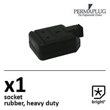 1 x 13 Amp Permaplug Rubber Socket 13A Heavy Duty Mains Electrical 3pin Black