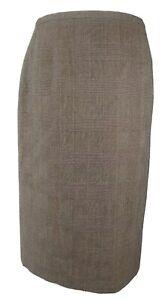 ARMANI Collezioni Brown Virgin Wool Blend Glen Plaid Midi Skirt ITA 44 UK 12