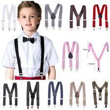 Childrens Adults Bow Tie On Kids Cute Suspender Clip Elastic Y-Shape Braces Boys
