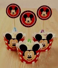 24 pcs Mickey Mouse Cupcake Wrappers(12) And Toppers(12) Party Decorations