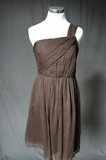 $250 J.Crew Petite One Shoulder Silk Chiffon Lucienne Party Dress 2P 49151 Brown
