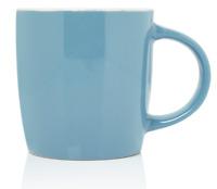 Set Of 4 - Large Coffee Mugs 400ml Capacity Blue Gloss Coloured Soup Cocoa Mug