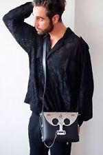 black leather shoulder crossbody bag futuristic statement Steampunk Goth mens