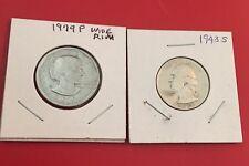 Mixed Lot Of 1979P Wide Rim SB Anthony Dollar & 1943S Silver Washington Quarter