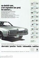 PUBLICITE ADVERTISING 116  1966  General Motors  Chevrolet Pontiac Buick cadilla