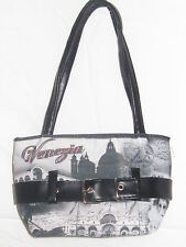 VENETIAN VENEZIA BLACK WHITE PURSE HANDBAG TOTE BAG SCENE OF ITALY