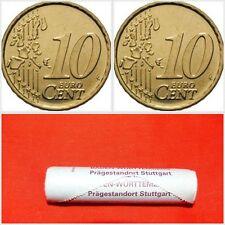 Roll of 40x 10 Mint Cent Euro Coins Germany Deutschland 2002 F Stuttgart Mint