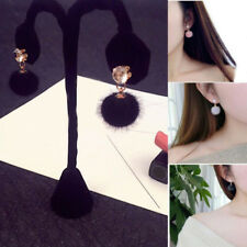 Ladies Diamond Pom Pom Drop Dangle Earrings Fur Ball Ear Stud Elegant Jewellery