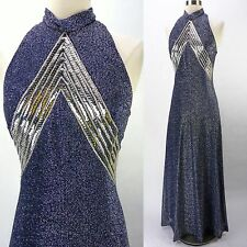 Vintage 70s Blue Metallic Lame Gauze Silver Chevron Bust Halter Maxi Dress S