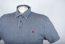 L203/10 Next Navy Cotton Fitted (Stretch) Checkred Short Sleeve Polo Shirt,  L