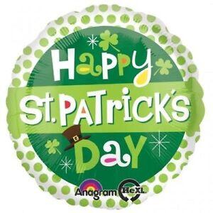HAPPY ST PATRICK'S DAY DOTS FOIL BALLOON IRISH PARTY DECORATION SHAMROCK 43CM