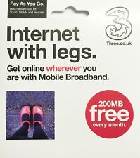 2 x Three Pay As You Go 3 Mobile Broadband Internet Data Dongle 3G 4G Sim Card