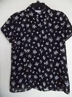 Women Chaus Sheer Black Floral shirt top blouse Poly  Woman Sz 12