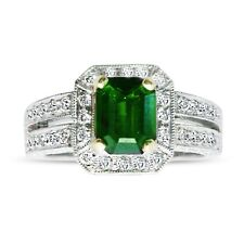 1.45 ctw Natural Green Tourmaline & Diamond .96ctw Ring in 18K Gold Size 5-1/2