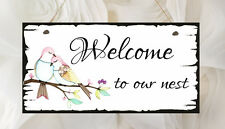 Hand Made Shabby Plaque Welcome To Our Nest Present Chic Gift Love Birds