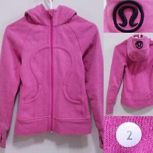 Lululemon SCUBA Heathered Pink Sparkle Zipper Size 2 XXS Sweater Yoga Hoodie