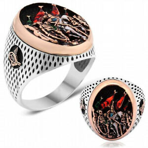 Solid 925 Sterling Silver 1453 Conquest of Istanbul Oval Men's Ring