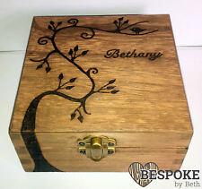 Personalised Wood Jewellery Memory Box 12cm Swirly Tree Keepsake Chritsmas Gift