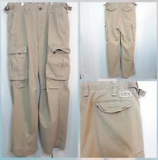 Vintage Mens Abercrombie & Fitch 32 L  Khaki 6 Pocket Twill Heavy Cargo Pants