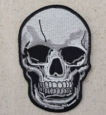 Iron On Embroidered Applique Patch LARGE Gray Black Human Skull Halloween Gothic