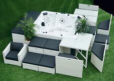 Poly-Rattan-Luxus-Whirlpool-Lounger King-SPA-Set-WLS-230-Outdoor mit Stauraum