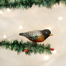 Old World Christmas Robin Red Breasted Bird Clip-On Glass Xmas Ornament 18088