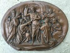F LAVASTRE : MÉDAILLON / PLAQUE EN CUIVRE XIXEME SCÈNE RELIGIEUSE CHRIST