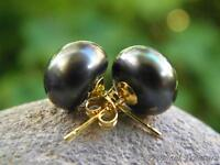 BLACK Pearl Earring Set - 18k Gold Plated 925 SOLID Silver