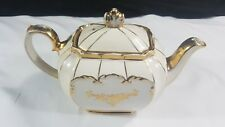 Sadler Cube Teapot in Wedding Pure White with Gold Trim c1948