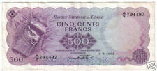 CONGO 500 FRANCS 1-8- 1964 WATERMARK LOOK SCAN RARE