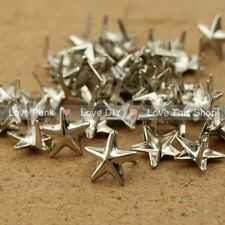 100pcs 10mm DIY Silver Star Rivet Punk Bag Belt Leathercraft Bracelets Clothes