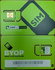 PREPAID Simple Mobile DUAL SimCard REG/MICRO USE TMOBILE TOWER,