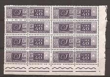 1962-5 L. 40 PACCHI POSTALI STELLE IV GOMMA ARABICA IN BLOCCO DI 8 NUOVO MNH**