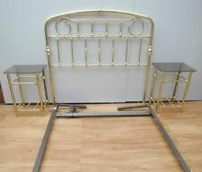 NICE Vintage BRASS Double BED Head & ENSEMBLE  + 2 BEDSIDE Tables SUITE QZZQ SA