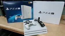 Sony Playstation 4 Pro 1TB Glacier White Console W/ Box & Controller READ