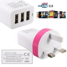 Mains 3 Pin Plug Adaptor Charger with 3 USB Ports for Phones Tablets CE (INT)